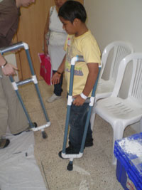 Boy with PVC Crutches